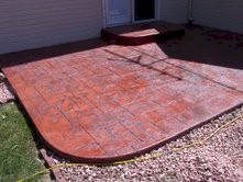 Your Denver Metro Construction Cobble Stone Stamp and Red Apple Color Patio